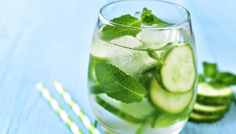 Haskins' mint and cucumber mocktail